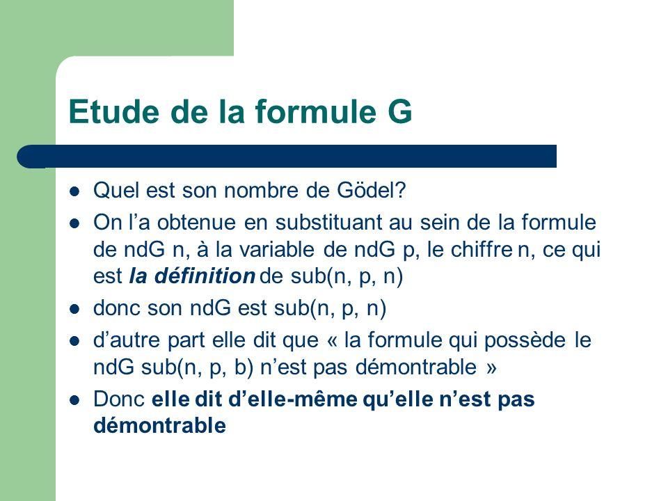 Le cœur de la démonstration Si G est démontrable, G est démontrable – Supposons G démontrable, il existe une suite de formules de ndG k telle que Dem(k, sub(n, p, n)), – Donc Dem(k, sub(n, p, n)) est démontrable, – Donc ( x) Dem(x, sub(n, p, n)) = G est démontrable si G est démontrable, G aussi.
