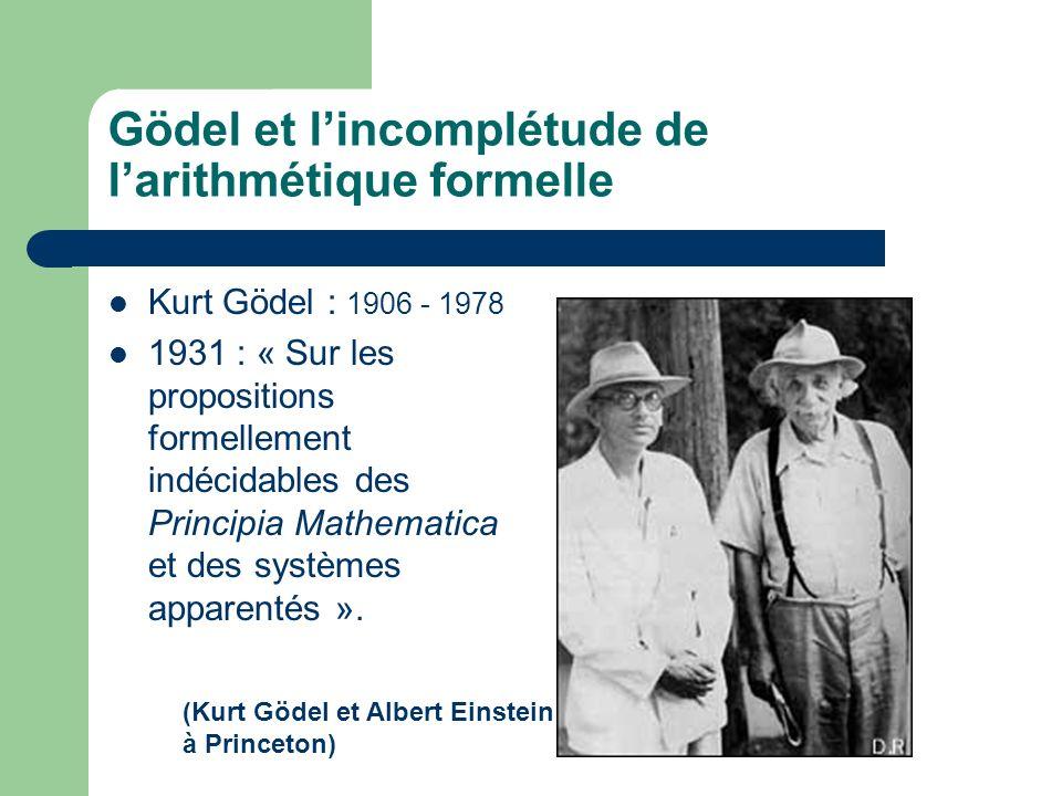 Gödel et lincomplétude de larithmétique formelle Kurt Gödel : 1906 - 1978 1931 : « Sur les propositions formellement indécidables des Principia Mathematica et des systèmes apparentés ».