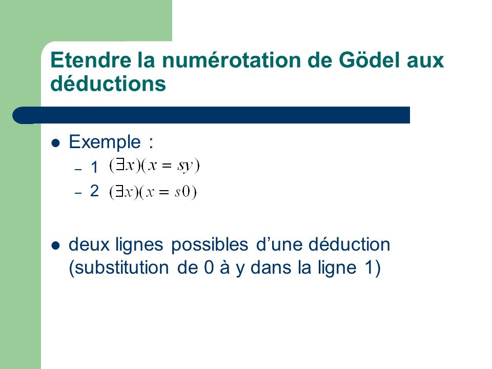Etendre la numérotation de Gödel aux déductions Exemple : – 1 m – 2 n k = 2 m 3 n « la déduction de nombre de Gödel k est une démonstration de la formule de nombre de Gödel n »