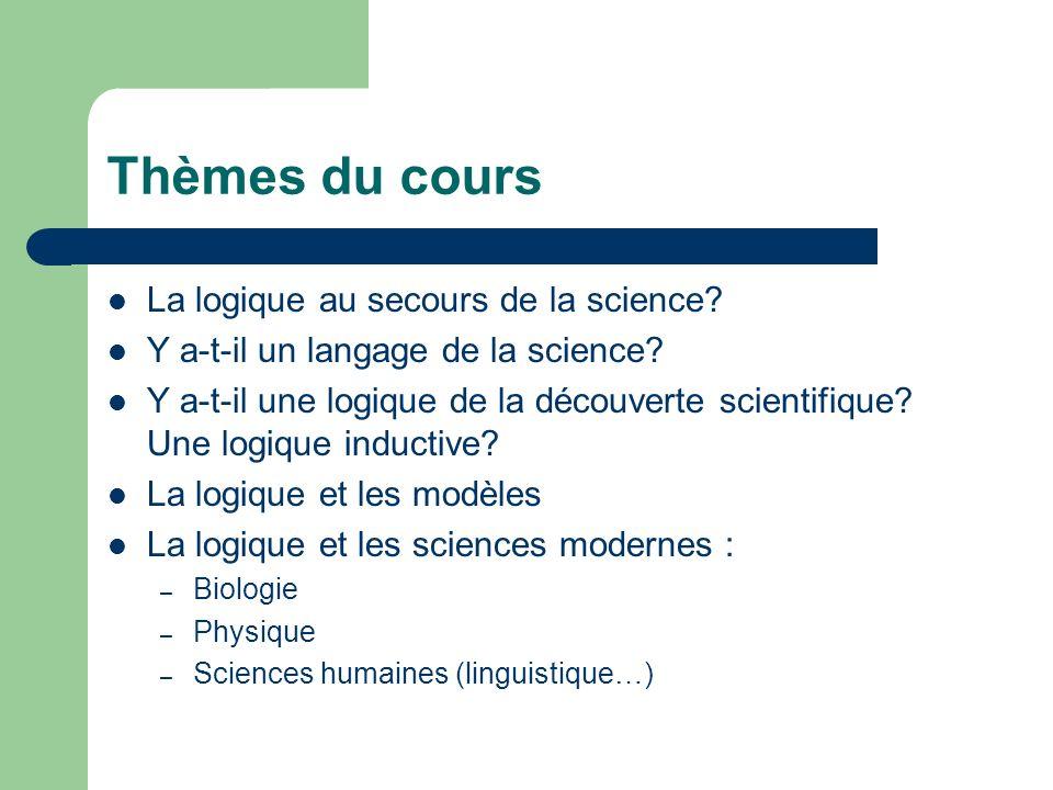 Thèmes du cours La logique au secours de la science? Y a-t-il un langage de la science? Y a-t-il une logique de la découverte scientifique? Une logiqu