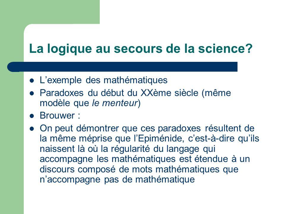 La logique au secours de la science? Lexemple des mathématiques Paradoxes du début du XXème siècle (même modèle que le menteur) Brouwer : On peut démo