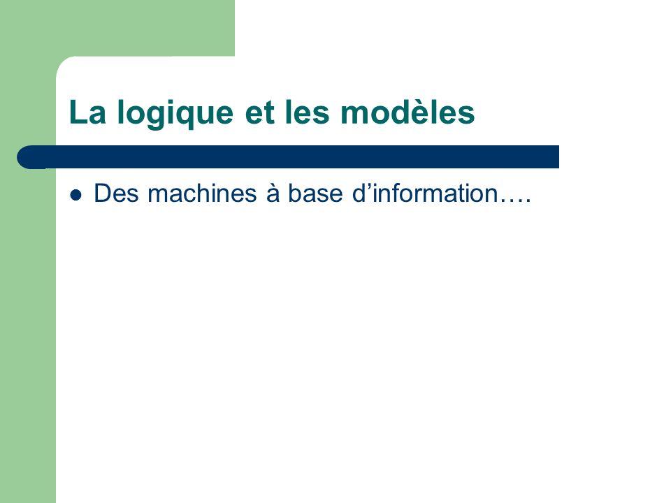 La logique et les modèles Des machines à base dinformation….
