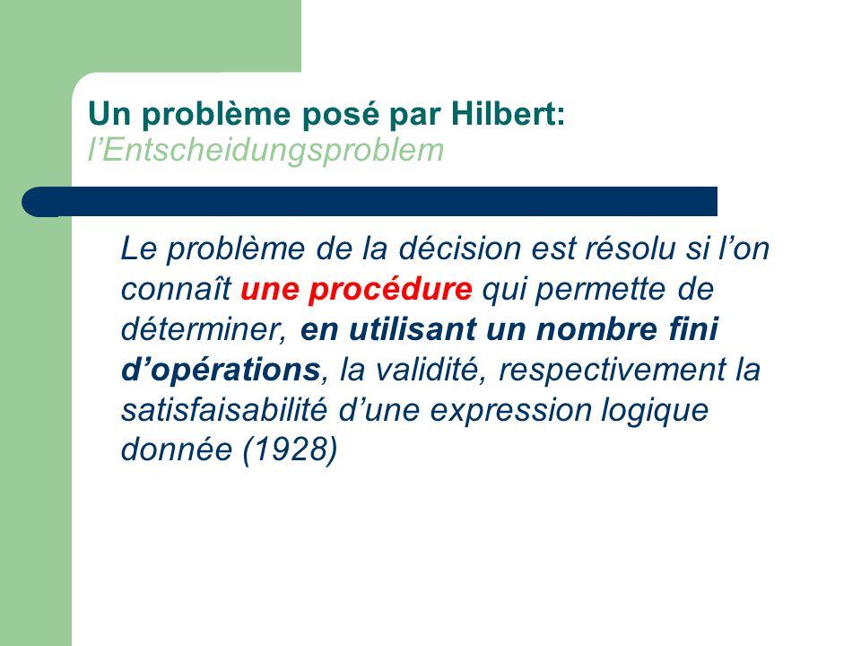 Un problème posé par Hilbert: lEntscheidungsproblem Le problème de la décision est résolu si lon connaît une procédure qui permette de déterminer, en