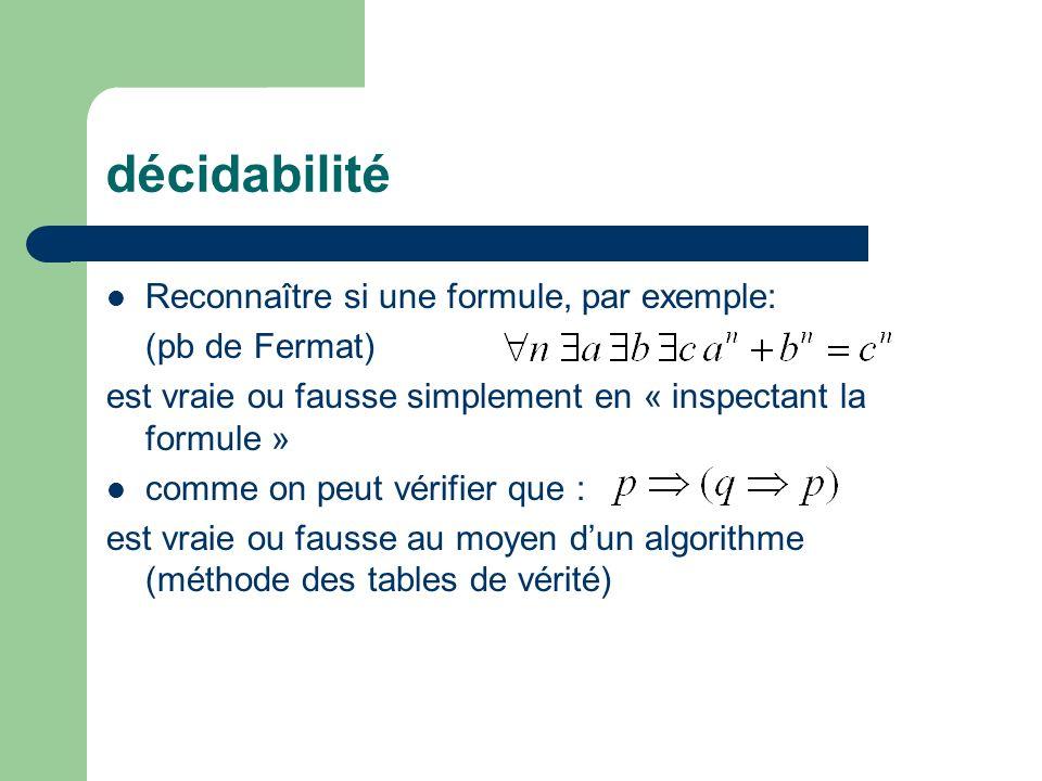 décidabilité Reconnaître si une formule, par exemple: (pb de Fermat) est vraie ou fausse simplement en « inspectant la formule » comme on peut vérifie