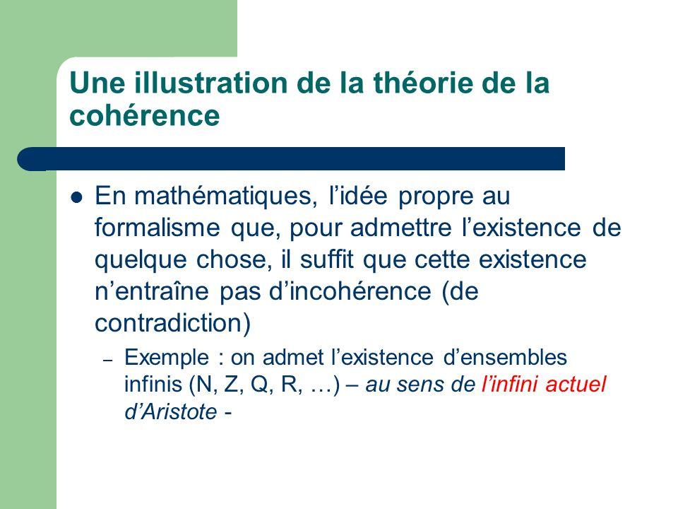 Une illustration de la théorie de la cohérence En mathématiques, lidée propre au formalisme que, pour admettre lexistence de quelque chose, il suffit