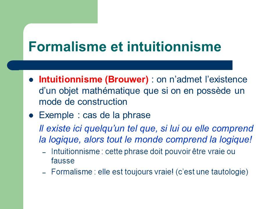 Formalisme et intuitionnisme Intuitionnisme (Brouwer) : on nadmet lexistence dun objet mathématique que si on en possède un mode de construction Exemp
