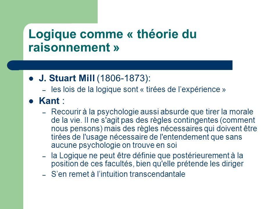 Logique comme « théorie du raisonnement » J. Stuart Mill (1806-1873): – les lois de la logique sont « tirées de lexpérience » Kant : – Recourir à la p