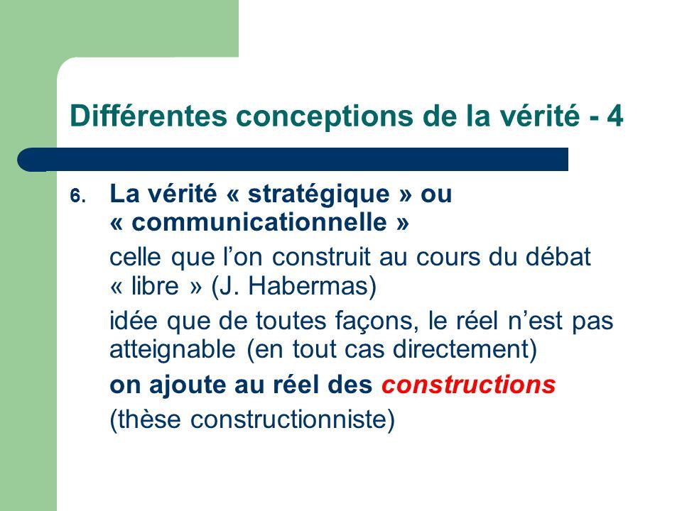 Différentes conceptions de la vérité - 4 6. La vérité « stratégique » ou « communicationnelle » celle que lon construit au cours du débat « libre » (J
