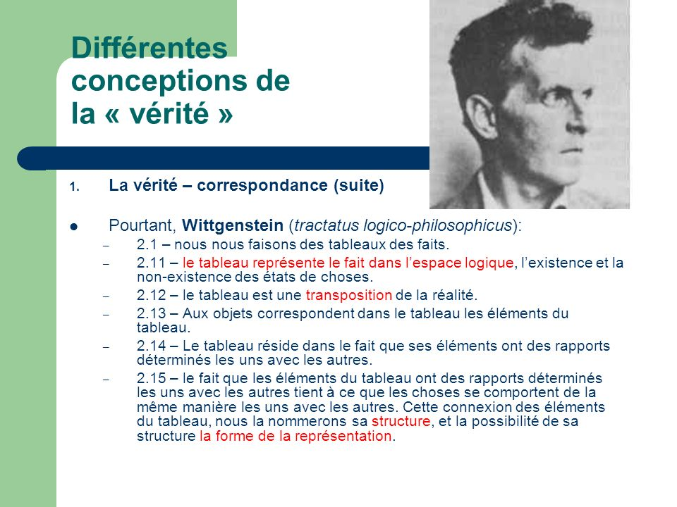 Différentes conceptions de la « vérité » 1. La vérité – correspondance (suite) Pourtant, Wittgenstein (tractatus logico-philosophicus): – 2.1 – nous n