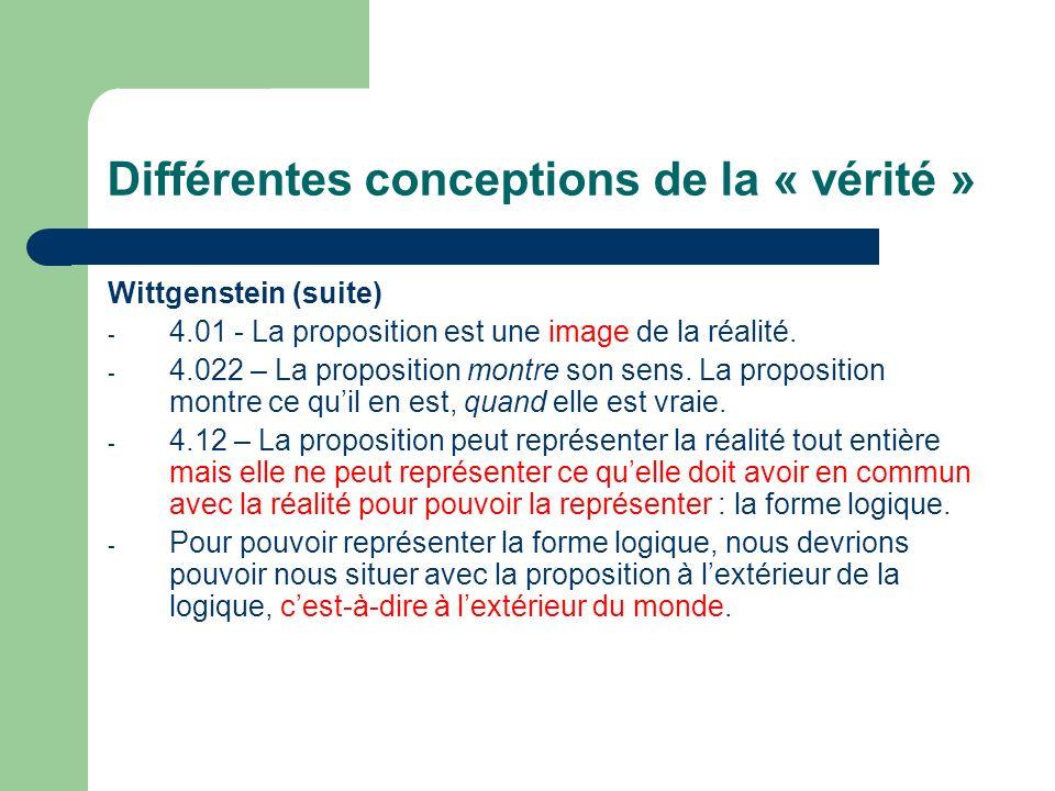 Différentes conceptions de la « vérité » Wittgenstein (suite) - 4.01 - La proposition est une image de la réalité. - 4.022 – La proposition montre son