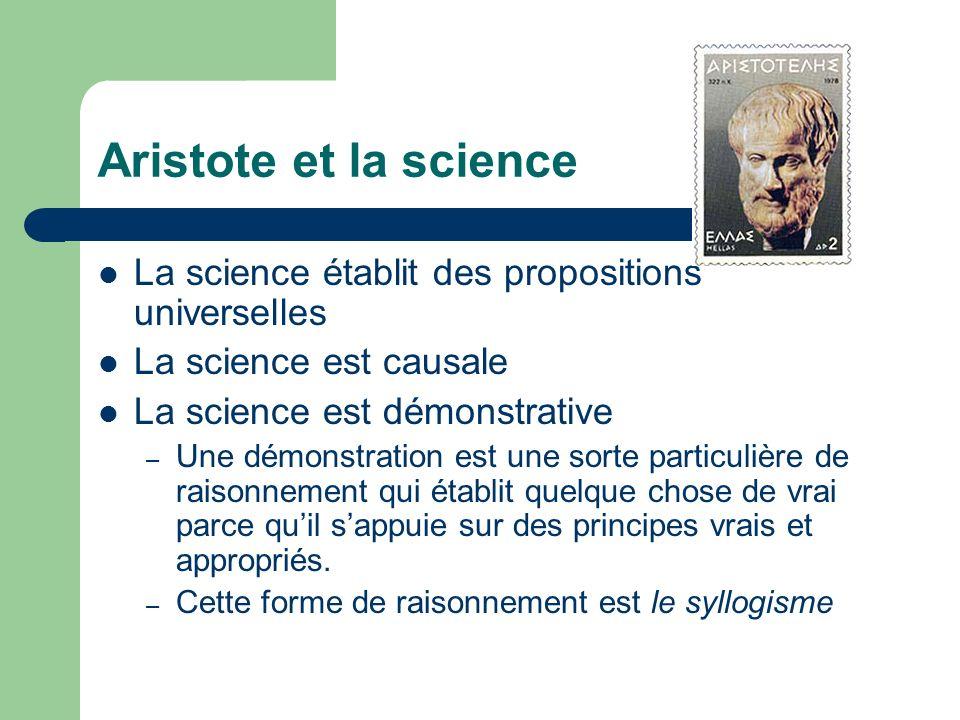 Aristote et la science La science établit des propositions universelles La science est causale La science est démonstrative – Une démonstration est un