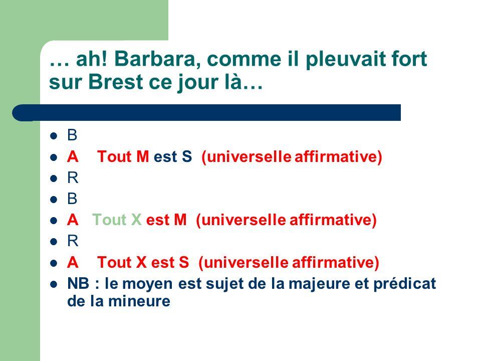 B ATout M est S (universelle affirmative) R B A Tout X est M (universelle affirmative) R ATout X est S (universelle affirmative) NB : le moyen est suj