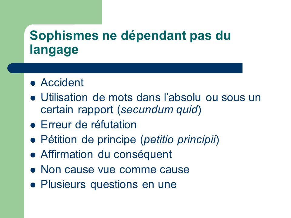 Sophismes ne dépendant pas du langage Accident Utilisation de mots dans labsolu ou sous un certain rapport (secundum quid) Erreur de réfutation Pétiti