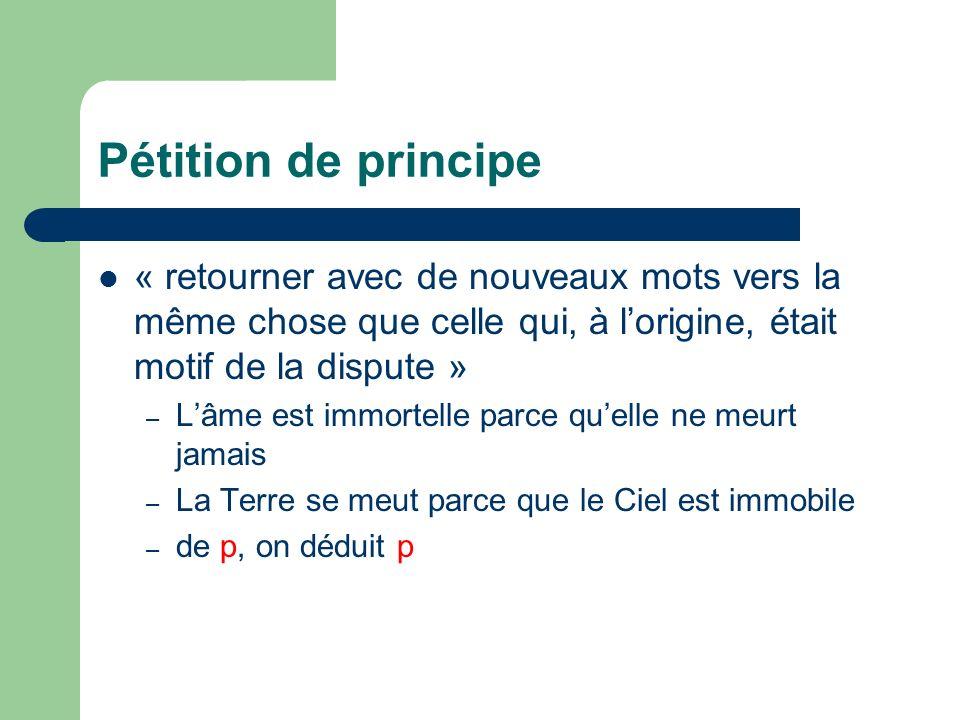 Pétition de principe « retourner avec de nouveaux mots vers la même chose que celle qui, à lorigine, était motif de la dispute » – Lâme est immortelle