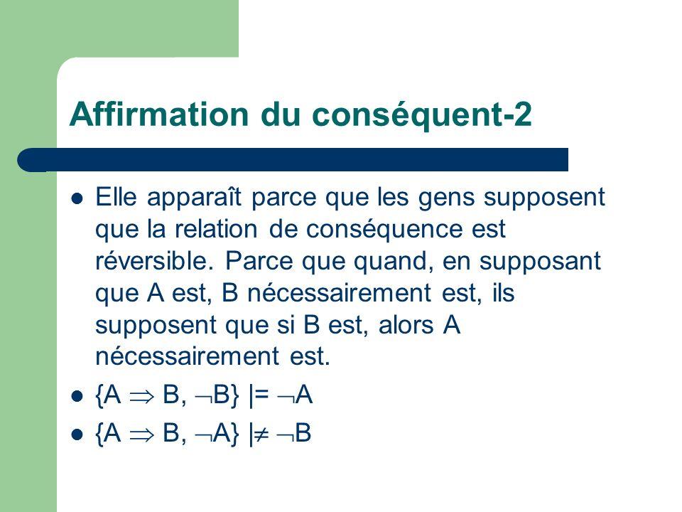 Affirmation du conséquent-2 Elle apparaît parce que les gens supposent que la relation de conséquence est réversible. Parce que quand, en supposant qu