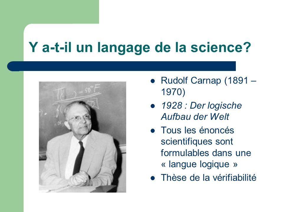 Y a-t-il un langage de la science? Rudolf Carnap (1891 – 1970) 1928 : Der logische Aufbau der Welt Tous les énoncés scientifiques sont formulables dan