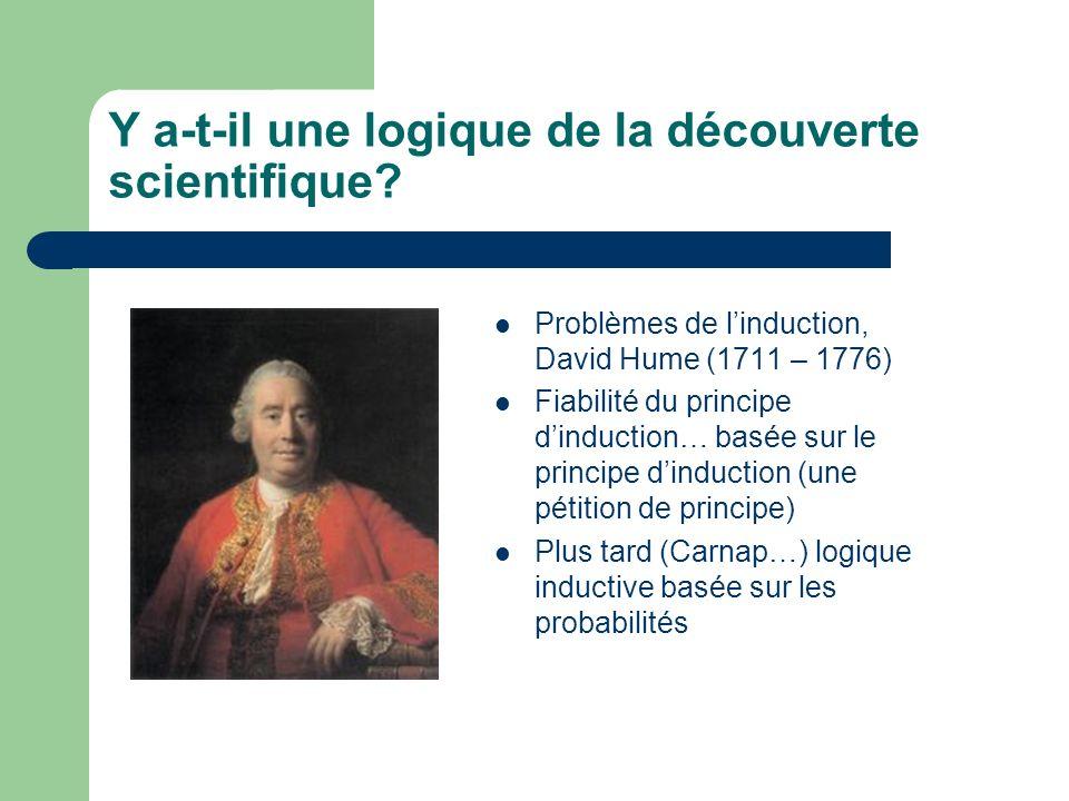 Y a-t-il une logique de la découverte scientifique? Problèmes de linduction, David Hume (1711 – 1776) Fiabilité du principe dinduction… basée sur le p