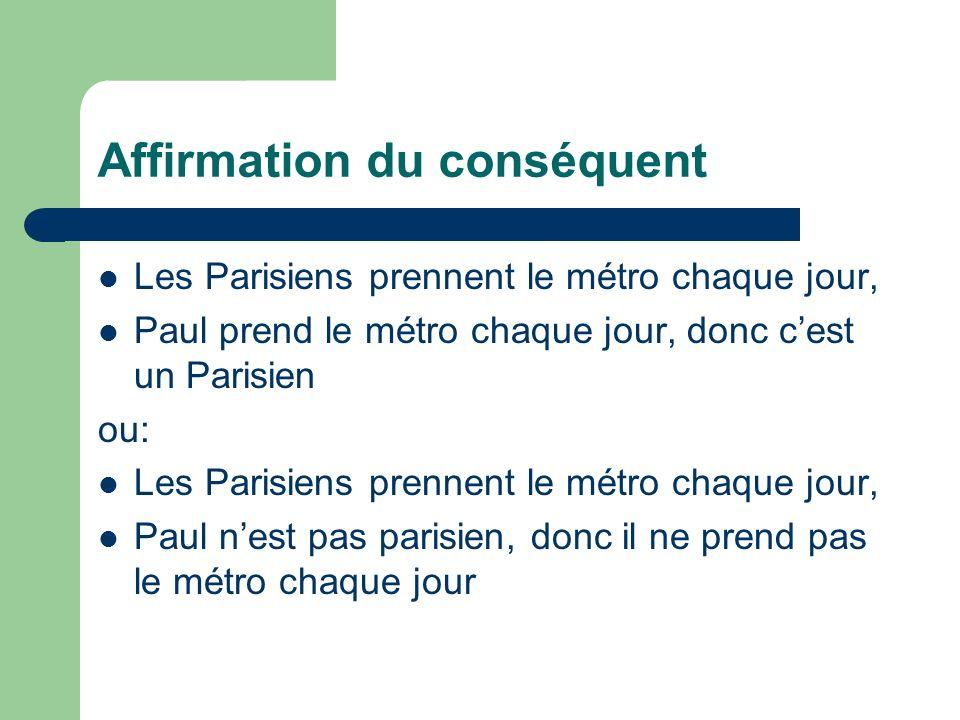 Affirmation du conséquent Les Parisiens prennent le métro chaque jour, Paul prend le métro chaque jour, donc cest un Parisien ou: Les Parisiens prenne