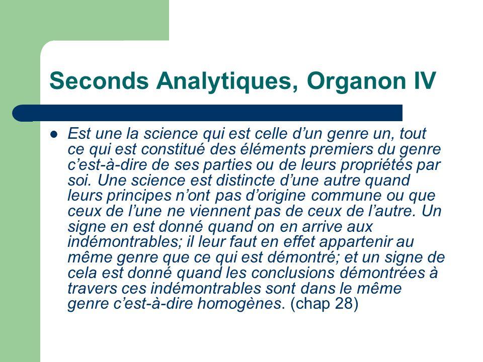 Seconds Analytiques, Organon IV Est une la science qui est celle dun genre un, tout ce qui est constitué des éléments premiers du genre cest-à-dire de