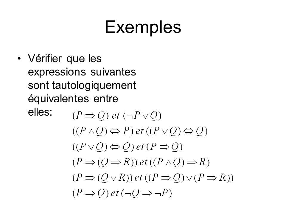 Exemples Vérifier que les expressions suivantes sont tautologiquement équivalentes entre elles: