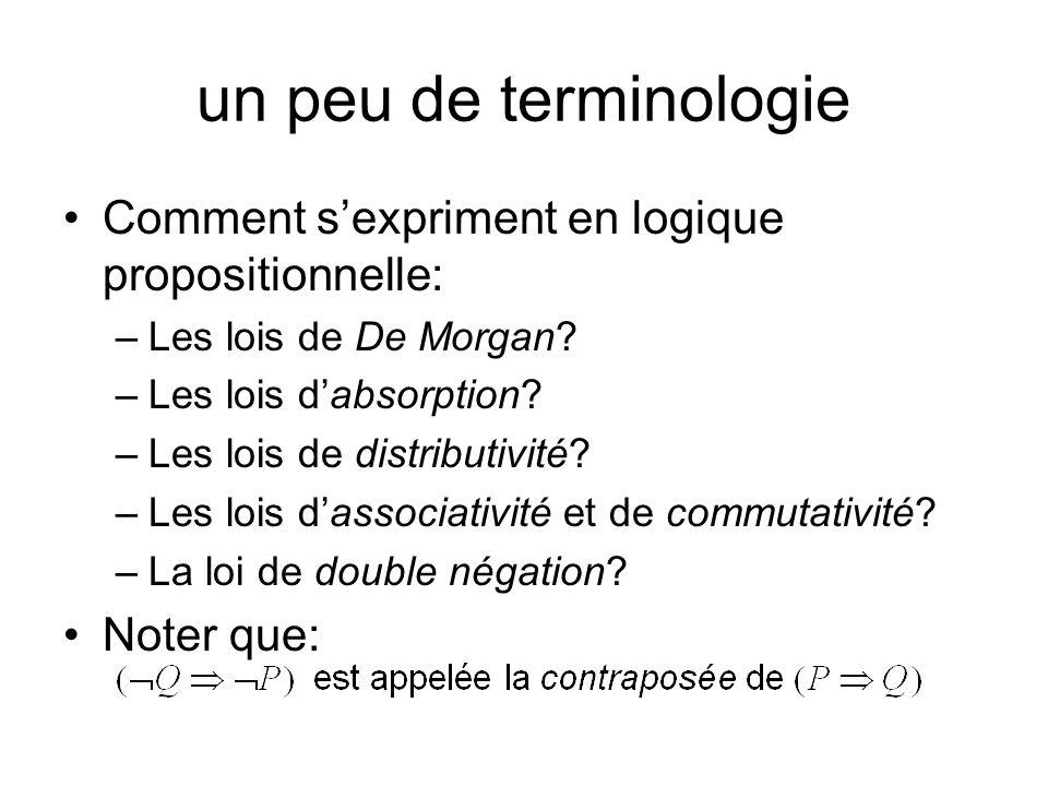 un peu de terminologie Comment sexpriment en logique propositionnelle: –Les lois de De Morgan? –Les lois dabsorption? –Les lois de distributivité? –Le
