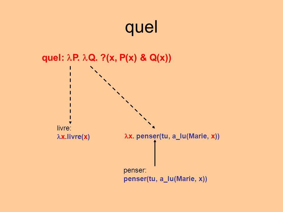 quel quel: P. Q. ?(x, P(x) & Q(x)) livre: x.livre(x) penser: penser(tu, a_lu(Marie, x)) x. penser(tu, a_lu(Marie, x))