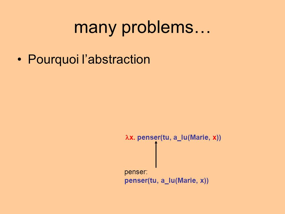 many problems… Pourquoi labstraction penser: penser(tu, a_lu(Marie, x)) x.