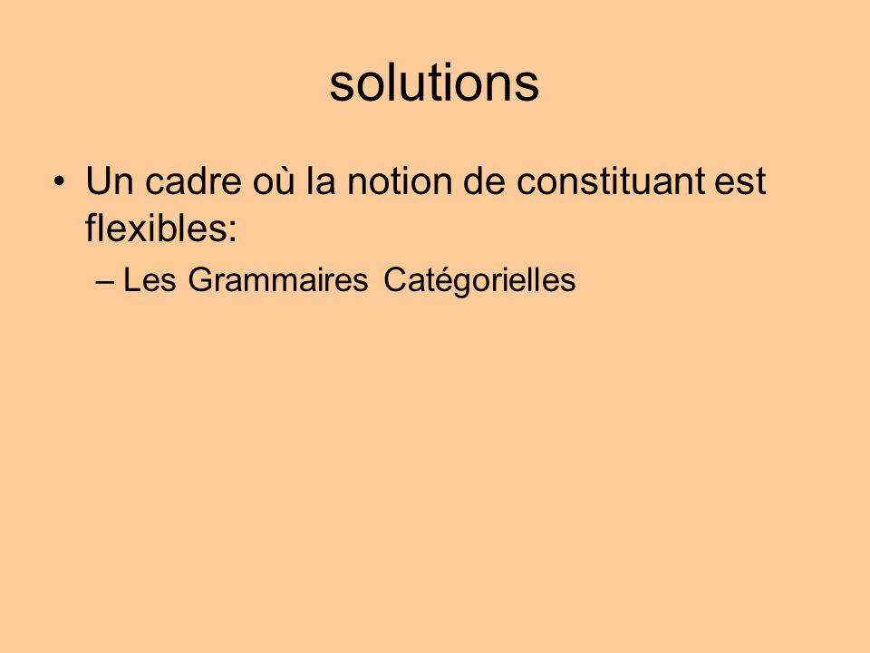 solutions Un cadre où la notion de constituant est flexibles: –Les Grammaires Catégorielles