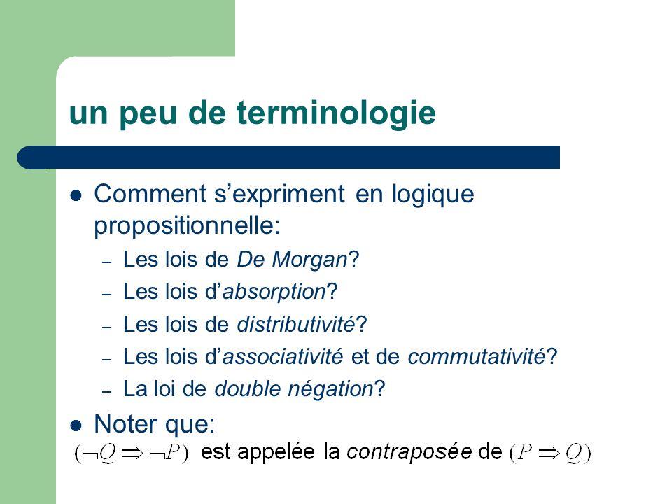 un peu de terminologie Comment sexpriment en logique propositionnelle: – Les lois de De Morgan? – Les lois dabsorption? – Les lois de distributivité?