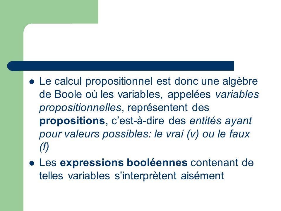 Le calcul propositionnel est donc une algèbre de Boole où les variables, appelées variables propositionnelles, représentent des propositions, cest-à-d