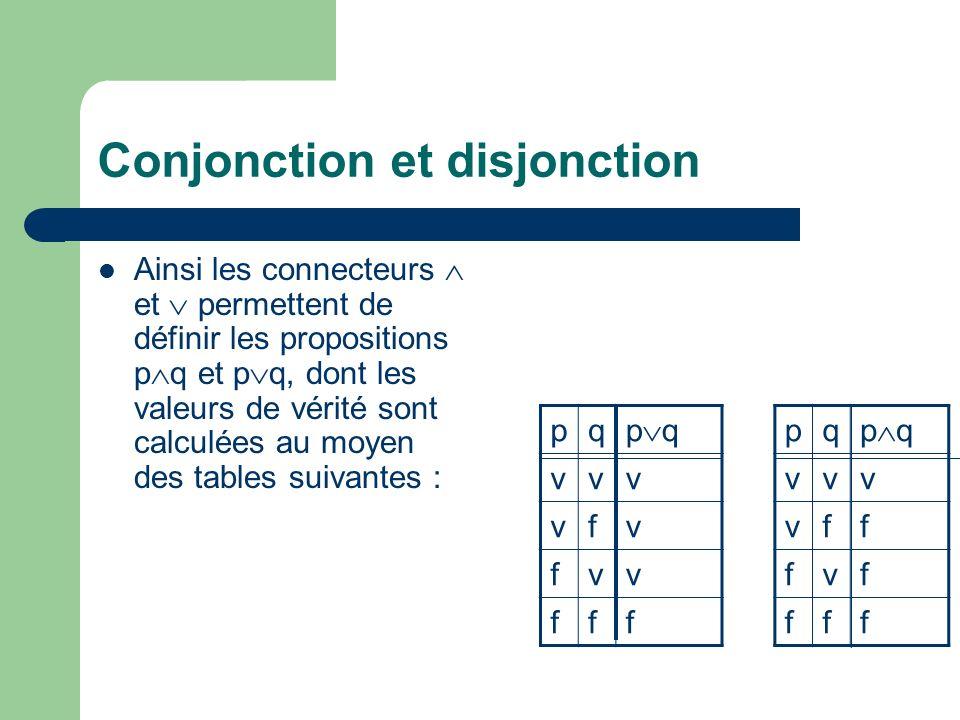 Conjonction et disjonction Ainsi les connecteurs et permettent de définir les propositions p q et p q, dont les valeurs de vérité sont calculées au mo