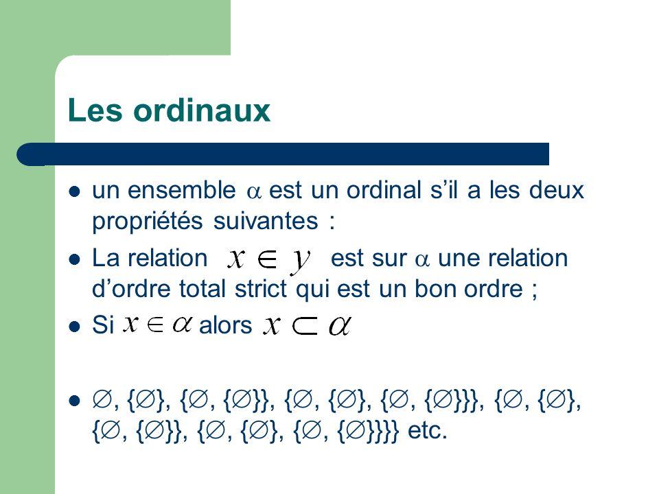 Les ordinaux un ensemble est un ordinal sil a les deux propriétés suivantes : La relation est sur une relation dordre total strict qui est un bon ordre ; Si alors, { }, {, { }}, {, { }, {, { }}}, {, { }, {, { }}, {, { }, {, { }}}} etc.