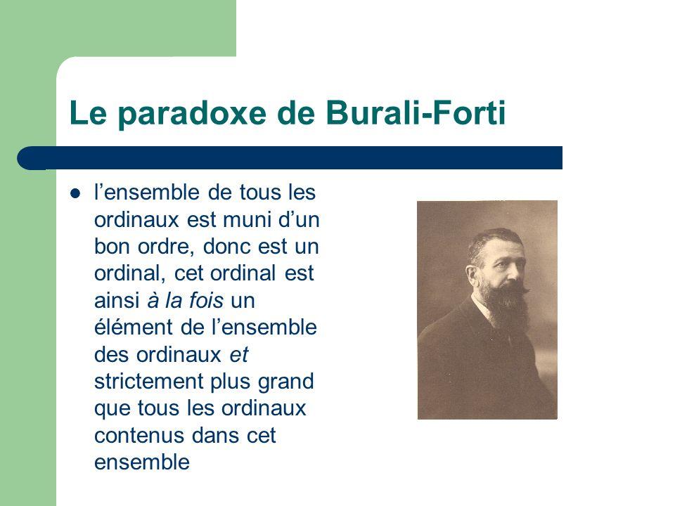 Le paradoxe de Burali-Forti lensemble de tous les ordinaux est muni dun bon ordre, donc est un ordinal, cet ordinal est ainsi à la fois un élément de lensemble des ordinaux et strictement plus grand que tous les ordinaux contenus dans cet ensemble