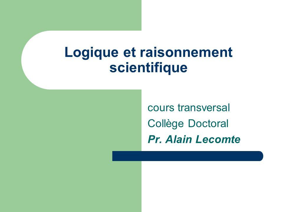 Logique et raisonnement scientifique cours transversal Collège Doctoral Pr. Alain Lecomte