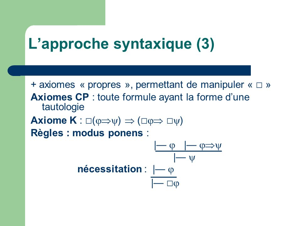 + axiomes « propres », permettant de manipuler « » Axiomes CP : toute formule ayant la forme dune tautologie Axiome K : ( ) ( ) Règles : modus ponens : | | nécessitation : | | Lapproche syntaxique (3)