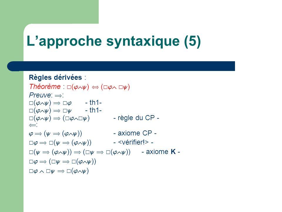 Règles dérivées : Théorème : ( ) ( ) Preuve: : ( ) - th1- ( ) ( )- règle du CP - : ( ( ))- axiome CP - ( ( ))- - ( ( )) ( ( )) - axiome K - ( ( )) ( ) Lapproche syntaxique (5)