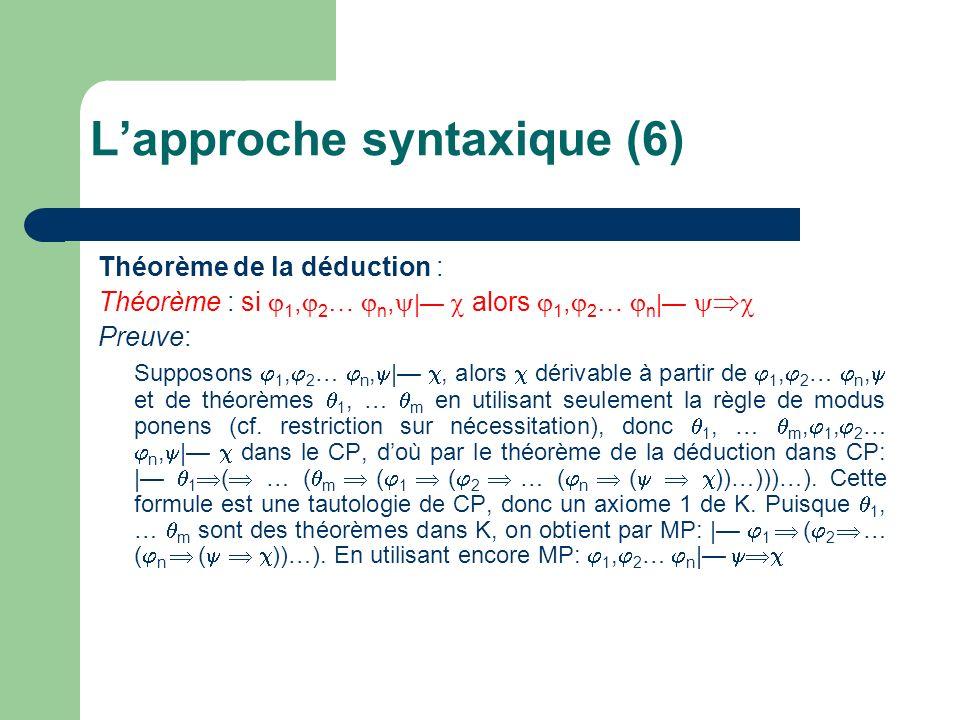 Théorème de la déduction : Théorème : si 1, 2 … n, | alors 1, 2 … n | Preuve: Supposons 1, 2 … n, |, alors dérivable à partir de 1, 2 … n, et de théor