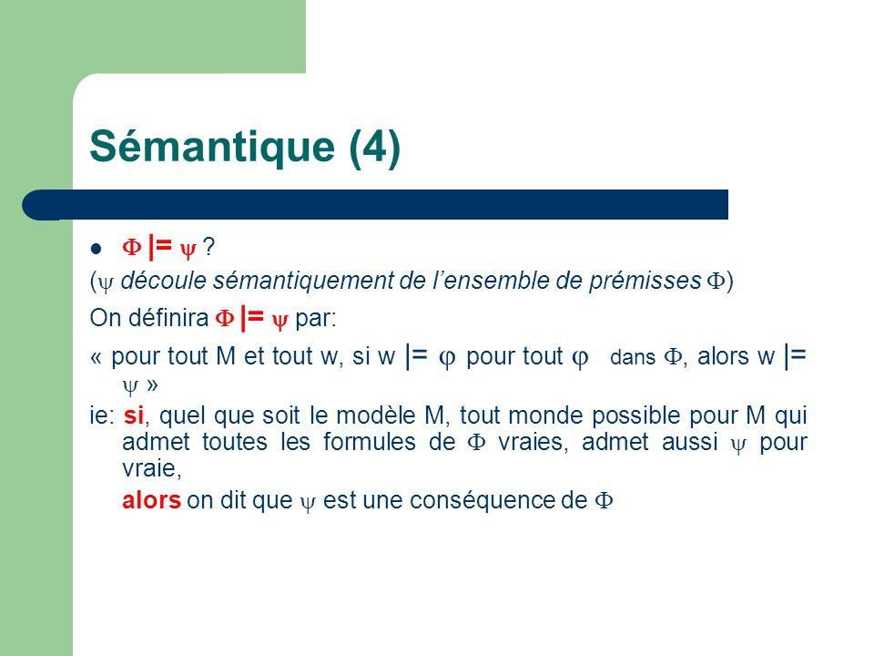 Sémantique (4) |= ? ( découle sémantiquement de lensemble de prémisses ) On définira |= par: « pour tout M et tout w, si w |= pour tout dans, alors w