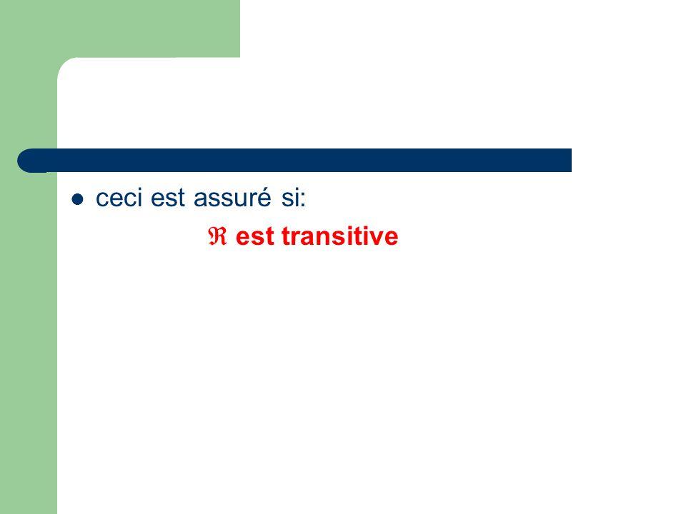 ceci est assuré si: est transitive