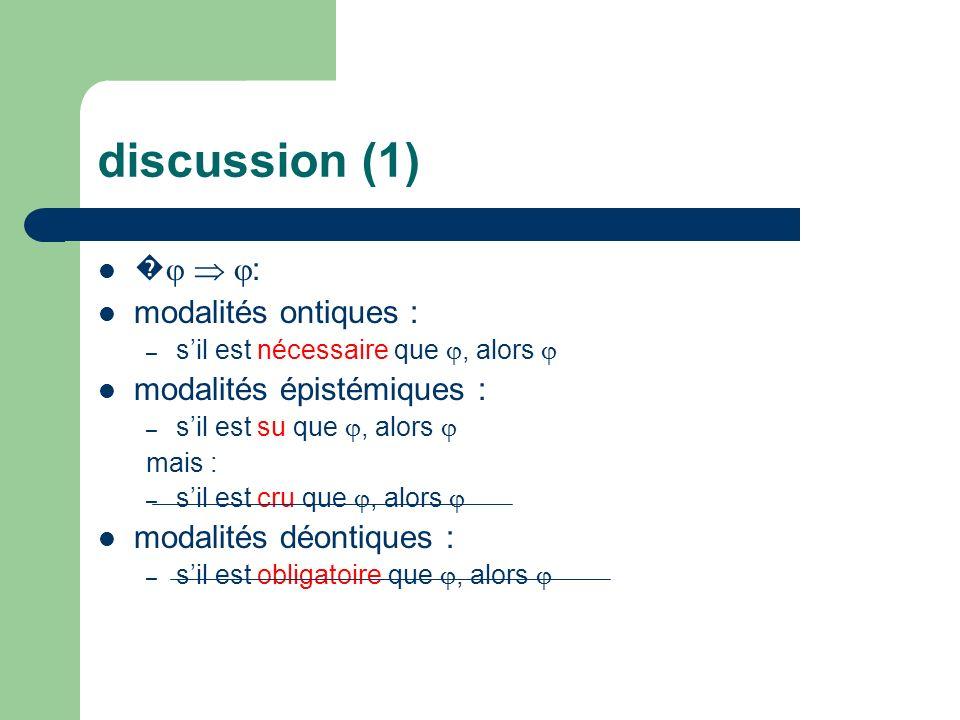 discussion (1) : modalités ontiques : – sil est nécessaire que, alors modalités épistémiques : – sil est su que, alors mais : – sil est cru que, alors modalités déontiques : – sil est obligatoire que, alors