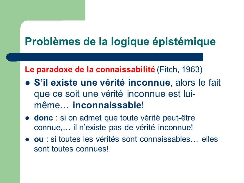 Problèmes de la logique épistémique Le paradoxe de la connaissabilité (Fitch, 1963) Sil existe une vérité inconnue, alors le fait que ce soit une véri