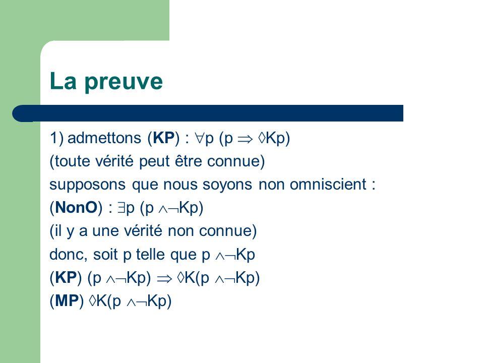 La preuve 1)admettons (KP) : p (p Kp) (toute vérité peut être connue) supposons que nous soyons non omniscient : (NonO) : p (p Kp) (il y a une vérité non connue) donc, soit p telle que p Kp (KP) (p Kp) K(p Kp) (MP) K(p Kp)