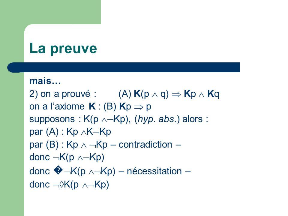 La preuve mais… 2) on a prouvé : (A) K(p q) Kp Kq on a laxiome K : (B) Kp p supposons : K(p Kp), (hyp. abs.) alors : par (A) : Kp K Kp par (B) : Kp Kp