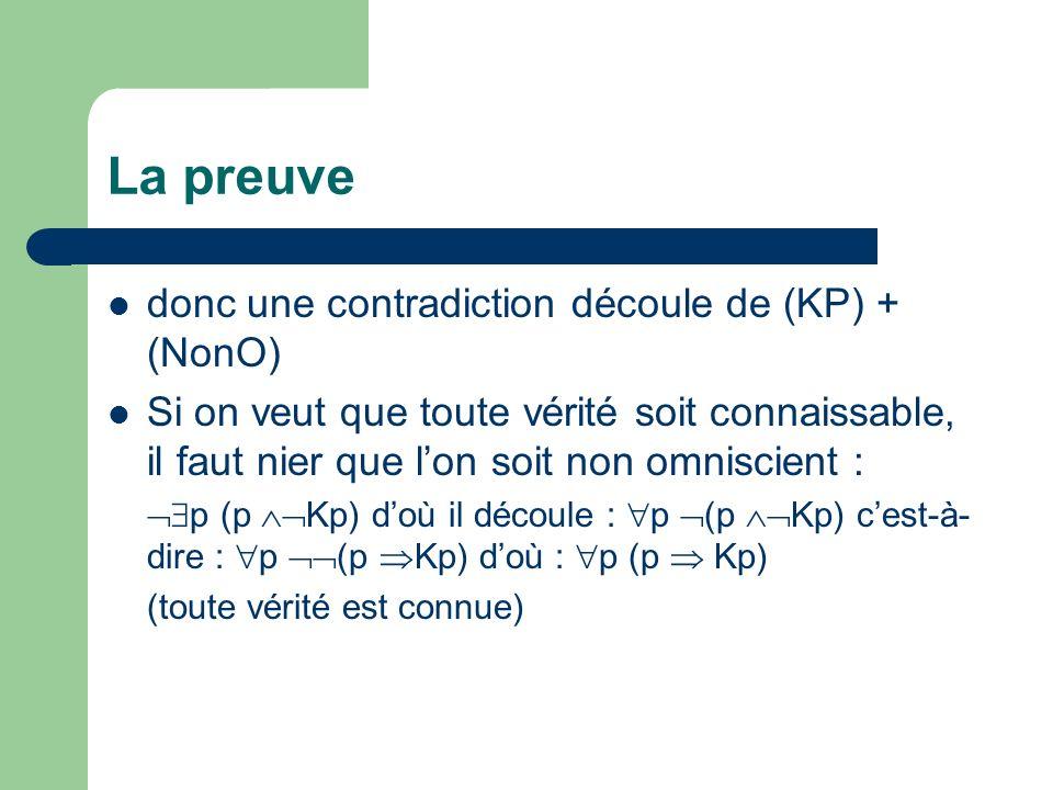 La preuve donc une contradiction découle de (KP) + (NonO) Si on veut que toute vérité soit connaissable, il faut nier que lon soit non omniscient : p (p Kp) doù il découle : p (p Kp) cest-à- dire : p (p Kp) doù : p (p Kp) (toute vérité est connue)