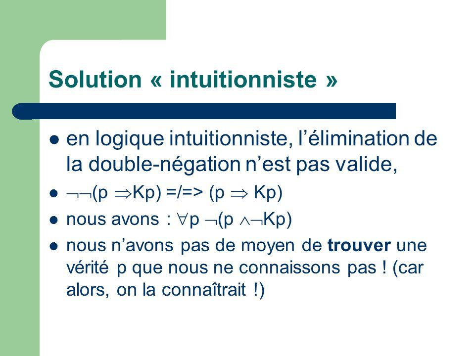 Solution « intuitionniste » en logique intuitionniste, lélimination de la double-négation nest pas valide, (p Kp) =/=> (p Kp) nous avons : p (p Kp) nous navons pas de moyen de trouver une vérité p que nous ne connaissons pas .