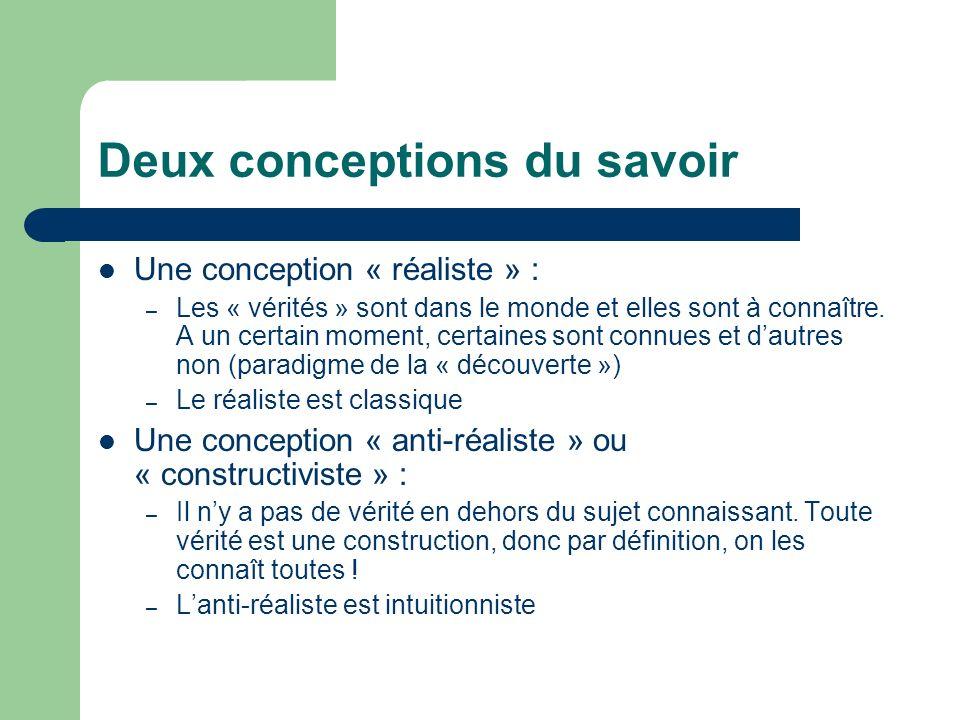 Deux conceptions du savoir Une conception « réaliste » : – Les « vérités » sont dans le monde et elles sont à connaître. A un certain moment, certaine