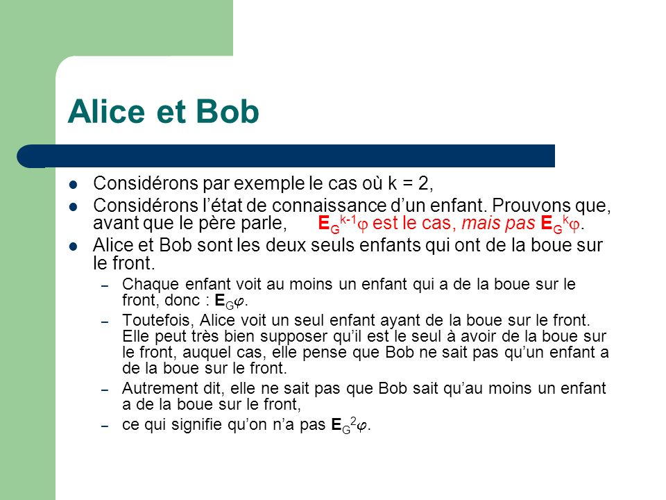 Alice et Bob Considérons par exemple le cas où k = 2, Considérons létat de connaissance dun enfant. Prouvons que, avant que le père parle, E G k-1 est