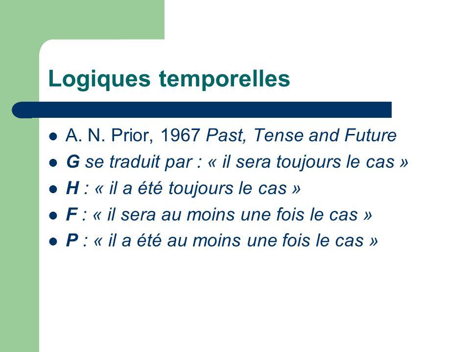 Logiques temporelles A. N. Prior, 1967 Past, Tense and Future G se traduit par : « il sera toujours le cas » H : « il a été toujours le cas » F : « il