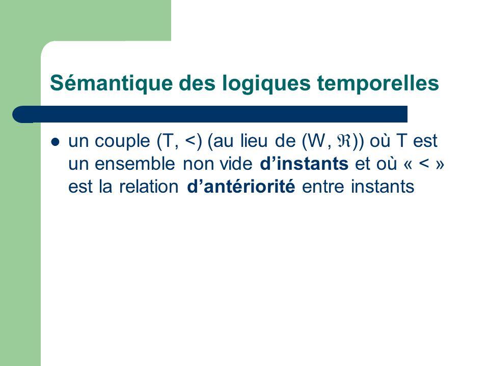 Sémantique des logiques temporelles un couple (T, <) (au lieu de (W, )) où T est un ensemble non vide dinstants et où « < » est la relation dantériorité entre instants