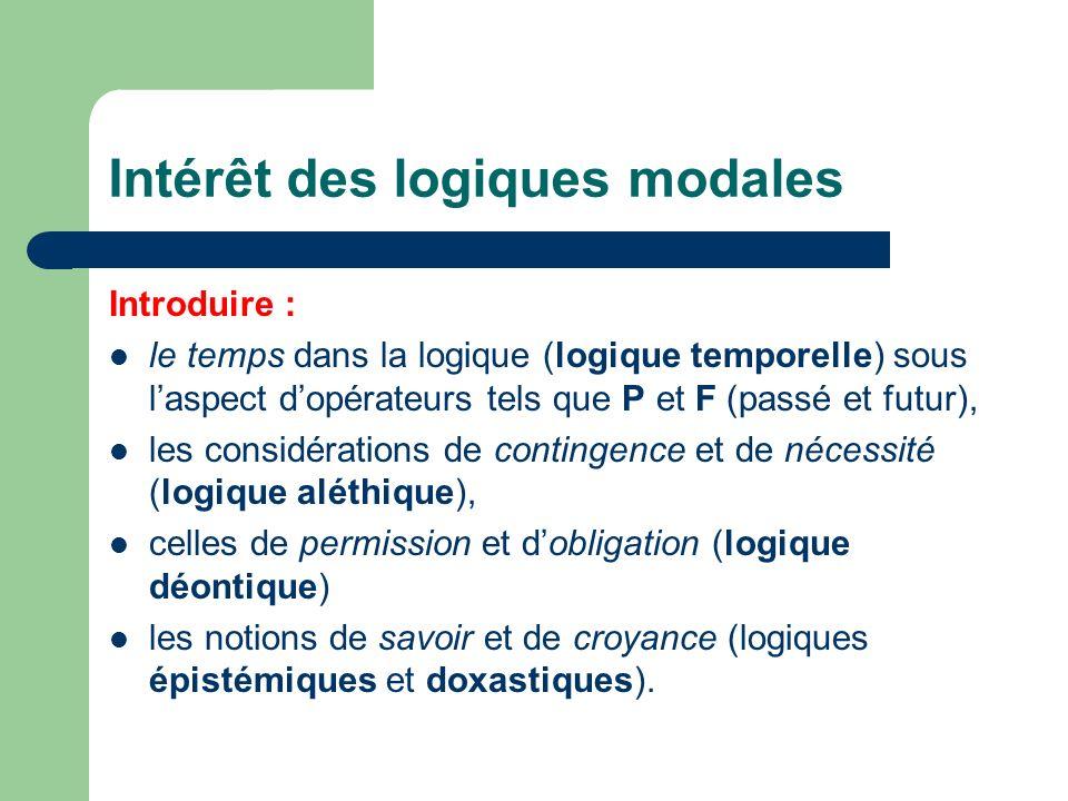 Intérêt des logiques modales Introduire : le temps dans la logique (logique temporelle) sous laspect dopérateurs tels que P et F (passé et futur), les